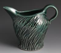 Handmade Black and Green Pitcher, 24oz, wheel thrown