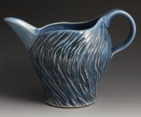 Handmade Black and Blue Pitcher, 24oz, wheel thrown